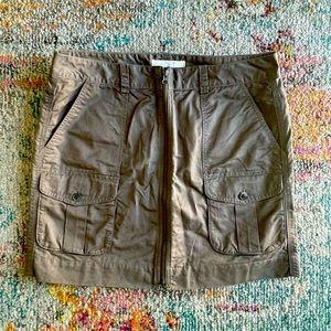 Ann Taylor LOFT Olive Khaki Zip Front Cargo Skirt
